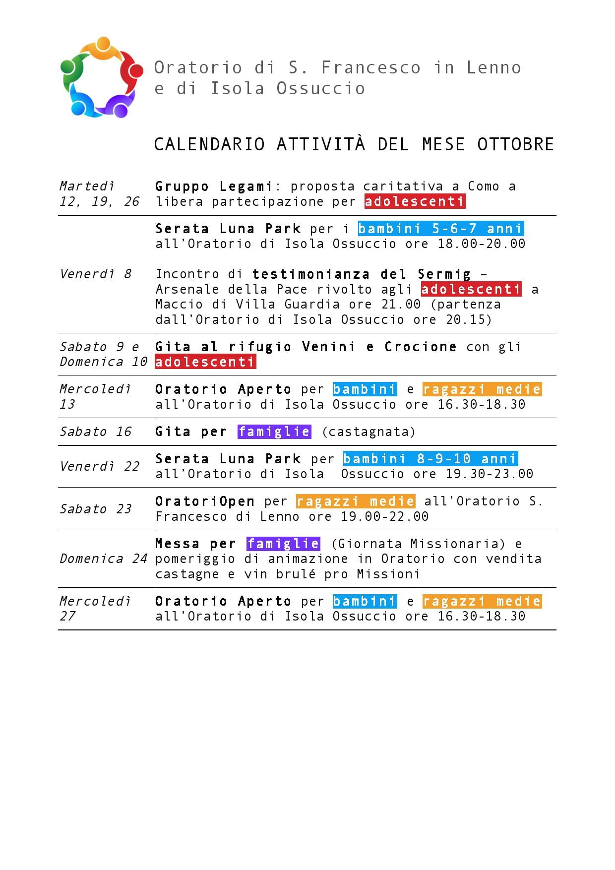 Calendario attività oratorio Ottobre 2021